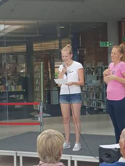 Giving a speech about my life as a deaf person!