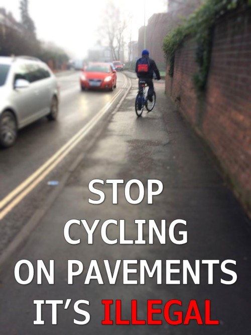 STOP CYCLING ON THE PAVEMENTS