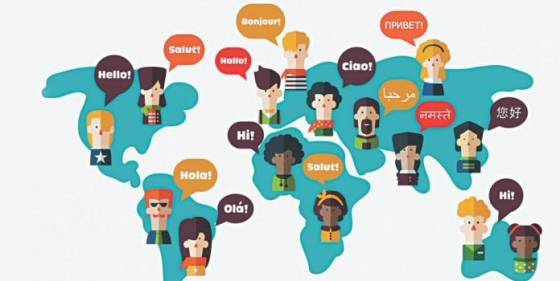 A cartoon map of the world with cartoon character heads dotted around different countries with speech bubbles all saying 'Hello' in their own language