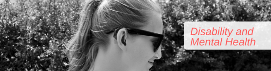Black and white banner of a side profile of me wearing hearing aids and sunglasses with a bush in the background