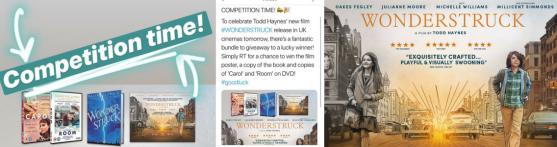 Competition Banner, left says 'Competition Time' with the prizes below it, in the middle is my tweet, on the right is the film poster
