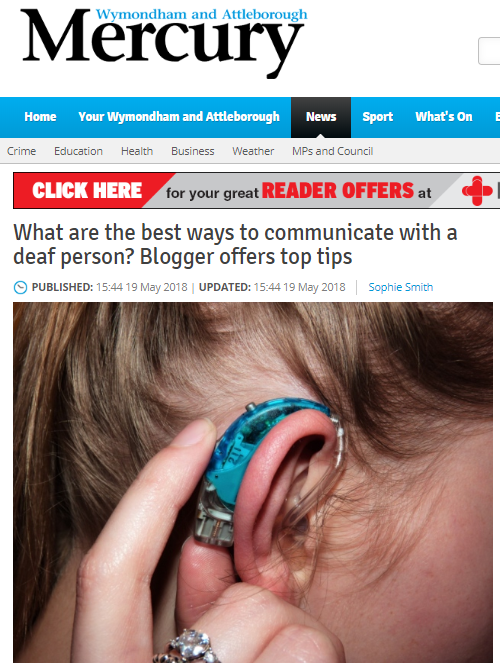Screenshot of Wymondham and Attleborough Mercury newspaper website with my article and a photo of a side profile of my hearing aid.