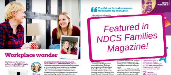 Screenshot of the double page spread where I'm featured in the NDCS Families Magazine