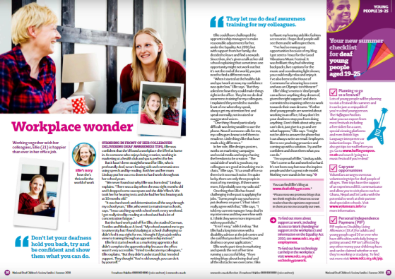 A screenshot of a double page spread in NDCS Families Magazine about my life and it's titled 'Workplace Wonder'