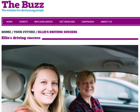 Screenshot of NDCS Buzz Website featuring a picture of myself and Mum in my car