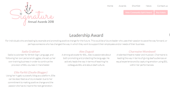 Webpage screenshot of Signature Annual Award Shortlist for the Leadership Award Category