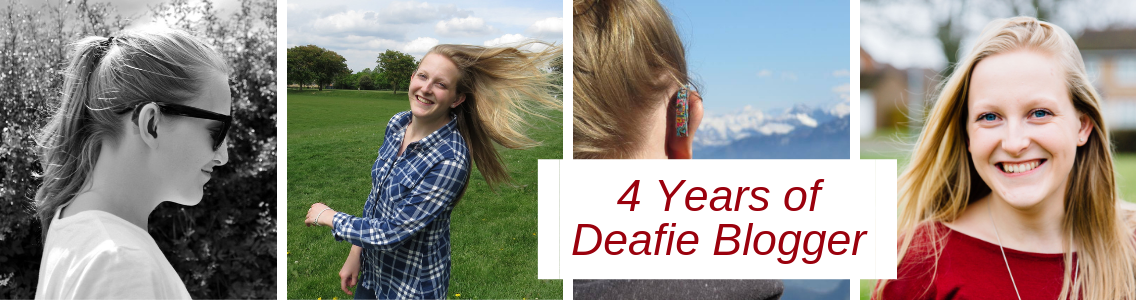 Collage of four photos; left to right - black and white side portrait of teenage me with hair in ponytail and sunglasses on, secondly; me smiling with hair flying in the wind wearing blue chequered shirt, third; back of my hearing aids on my ears with the alps in the background, fourth and right; me smiling looking at camera blonde hair wearing red top