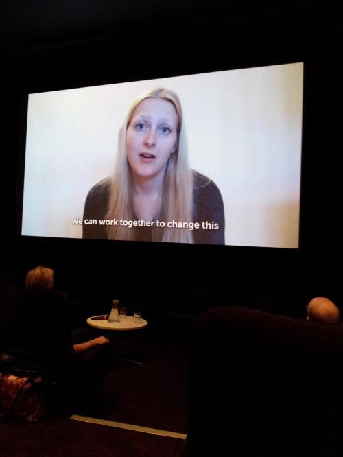 Photo of me on the screen which I am talking in a video about my campaign